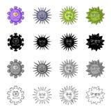 Tipos diferentes de bactérias e de vírus Os vírus engraçados ajustaram ícones da coleção no estilo monocromático do esboço do pre Fotografia de Stock