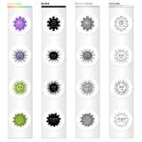 Tipos diferentes de bactérias e de vírus Os vírus engraçados ajustaram ícones da coleção no estilo monocromático do esboço do pre Fotos de Stock