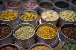 Tipos diferentes de chá em uns recipientes redondos Imagens de Stock Royalty Free