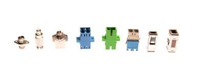 Tipos diferentes de conectores de fibra óptica foto de stock