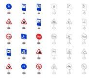 Tipos diferentes de desenhos animados dos sinais de estrada, ?cones do esbo?o na cole??o do grupo para o projeto Vetor dos sinais ilustração royalty free