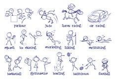Tipos diferentes de esportes ilustração royalty free
