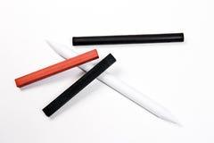 Tipos diferentes de ferramentas da arte: selo, giz de otimista e charc Imagens de Stock