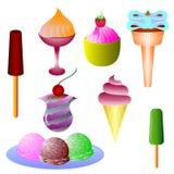 Tipos diferentes de gelado ilustração royalty free