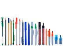 Tipos diferentes de instrumentos da escrita Fotos de Stock
