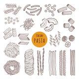 Tipos diferentes de massa italiana Ilustrações do vetor da tração da mão ilustração royalty free