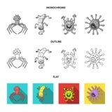 Tipos diferentes de micróbios e de vírus Os vírus e as bactérias ajustaram ícones da coleção no plano, esboço, estilo monocromáti Imagem de Stock Royalty Free