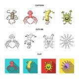 Tipos diferentes de micróbios e de vírus Os vírus e as bactérias ajustaram ícones da coleção nos desenhos animados, esboço, vetor Imagens de Stock Royalty Free