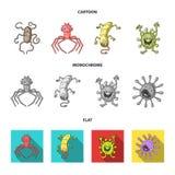 Tipos diferentes de micróbios e de vírus Os vírus e as bactérias ajustaram ícones da coleção nos desenhos animados, estilo liso,  Fotos de Stock Royalty Free