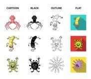 Tipos diferentes de micróbios e de vírus Os vírus e as bactérias ajustaram ícones da coleção nos desenhos animados, preto, esboço Fotos de Stock Royalty Free