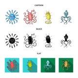 Tipos diferentes de micróbios e de vírus Os vírus e as bactérias ajustaram ícones da coleção nos desenhos animados, preto, vetor  Imagens de Stock