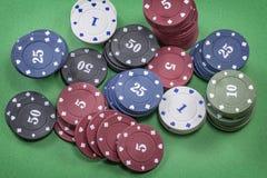 Tipos diferentes de microplaquetas de pôquer Fotografia de Stock Royalty Free