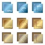 Tipos diferentes de processadores ilustração do vetor