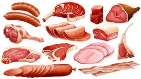 Tipos diferentes de produtos de carne Fotografia de Stock Royalty Free