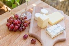 Tipos diferentes de queijo com vinho e uvas Imagem de Stock Royalty Free