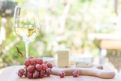 Tipos diferentes de queijo com vinho e uvas Foto de Stock