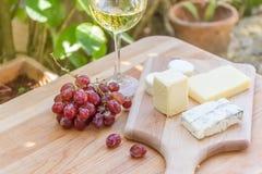Tipos diferentes de queijo com vinho e uvas Fotos de Stock Royalty Free