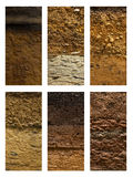 Tipos diferentes de terra do solo em um fundo branco fotografia de stock royalty free