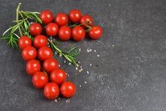 Tipos diferentes de tomates em ramos com alecrins e sal do mar em um fundo abstrato cinzento escuro Espaço para o texto Imagem de Stock