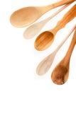 Tipos diferentes de utensílios de madeira da cozinha Imagem de Stock