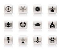 Tipos diferentes dos ícones futuros da nave espacial ilustração royalty free