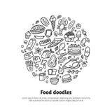 Tipos diferentes dos desenhos animados dos alimentos frescos com texto ilustração stock