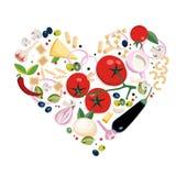 Tipos diferentes italianos do vegetariano de ingredientes da massa Conceito na forma do cora??o Grande para o menu, bandeira, ins ilustração royalty free