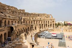 Tipos do anfiteatro romano na cidade do EL Jem, Tunísia imagem de stock royalty free