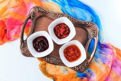 3 tipos do doce em uma bandeja Vista superior Imagens de Stock Royalty Free