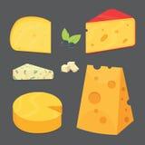 Tipos do queijo ícones da ilustração do vetor do estilo dos desenhos animados Imagem de Stock