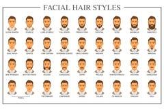 Tipos dos pêlos faciais ilustração royalty free