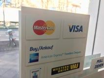 Tipos dos sistemas de pagamento fotos de stock