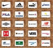 Tipos e logotipos famosos superiores das empresas do sportswear ilustração stock