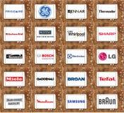 Tipos e logotipos famosos superiores do dispositivo de cozinha foto de stock