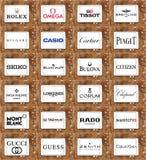 Tipos e logotipos famosos superiores dos relógios imagem de stock