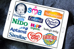 Tipos e logotipos secos populares superiores de produtores do leite da fórmula Foto de Stock