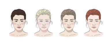 Tipos estacionales del color para el sistema de la belleza de la piel de las mujeres: Verano, otoño, invierno, primavera Las cara libre illustration