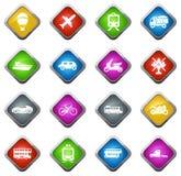 Tipos iconos del transporte fijados Foto de archivo libre de regalías