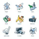 Tipos isolados das categorias da reciclagem de resíduos do lixo ilustração do vetor