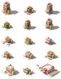 Tipos isométricos ícones dos restaurantes do vetor ilustração royalty free