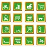Tipos quadrado verde ajustado ícones do carro ilustração stock