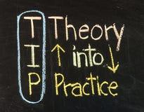 Tipp-Akronym für Theorie in Praxis Stockbild