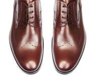 Tipp von den männlichen Schuhen lokalisiert auf Weiß Stockfoto