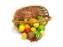 Tipped Basket of Fruit Stock Photos