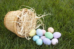 Tipped Over Easter Basket Stock Photo