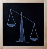 Tipped scales drawn on blackboard Stock Image