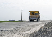 Tipper chalkpit. On the road Stock Image