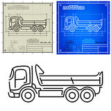 Tipper dump truck icon. Lorry tipper dump truck modern outline stylized blueprint technical drawing Royalty Free Stock Photo