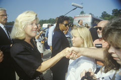 Tipper Gore on the Clinton/Gore Buscapade tour on one of its Great Lakes Tour Freeway Stops, 1992 Stock Photography