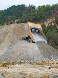 Tipper at an open pit of a copper mine. Tipper at open pit of a copper mine and a devastated nature at the mine Majdanpek in Serbia stock image